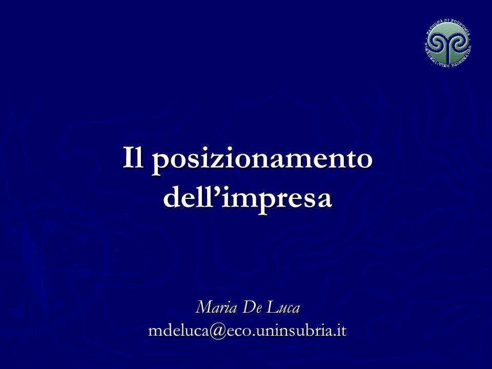 Il posizionamento dellimpresa Maria De Luca mdeluca@eco.uninsubria.it