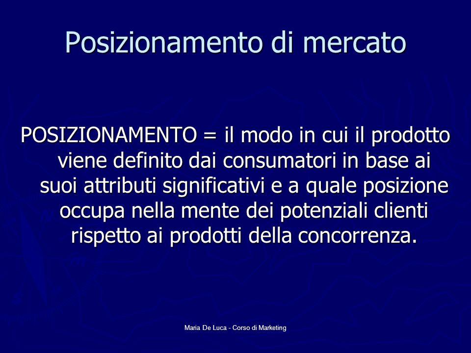 Maria De Luca - Corso di Marketing Posizionamento di mercato POSIZIONAMENTO = il modo in cui il prodotto viene definito dai consumatori in base ai suoi attributi significativi e a quale posizione occupa nella mente dei potenziali clienti rispetto ai prodotti della concorrenza.
