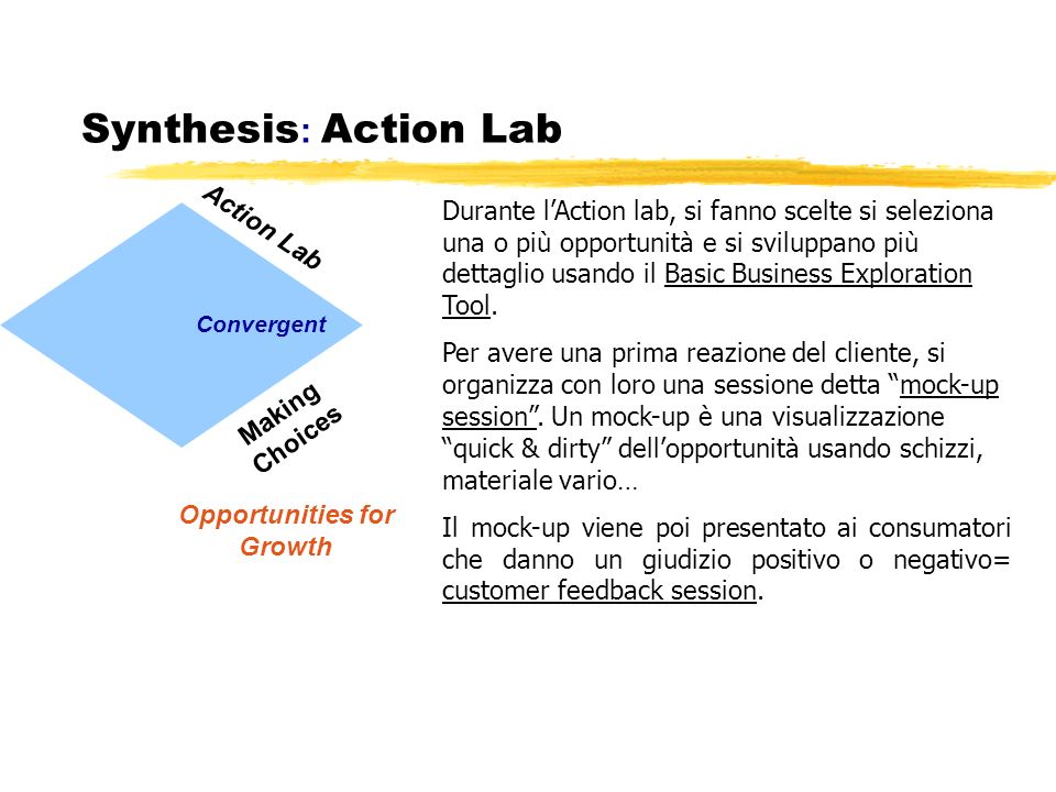 Synthesis : Action Lab Making Choices Convergent Opportunities for Growth Action Lab Durante lAction lab, si fanno scelte si seleziona una o più oppor