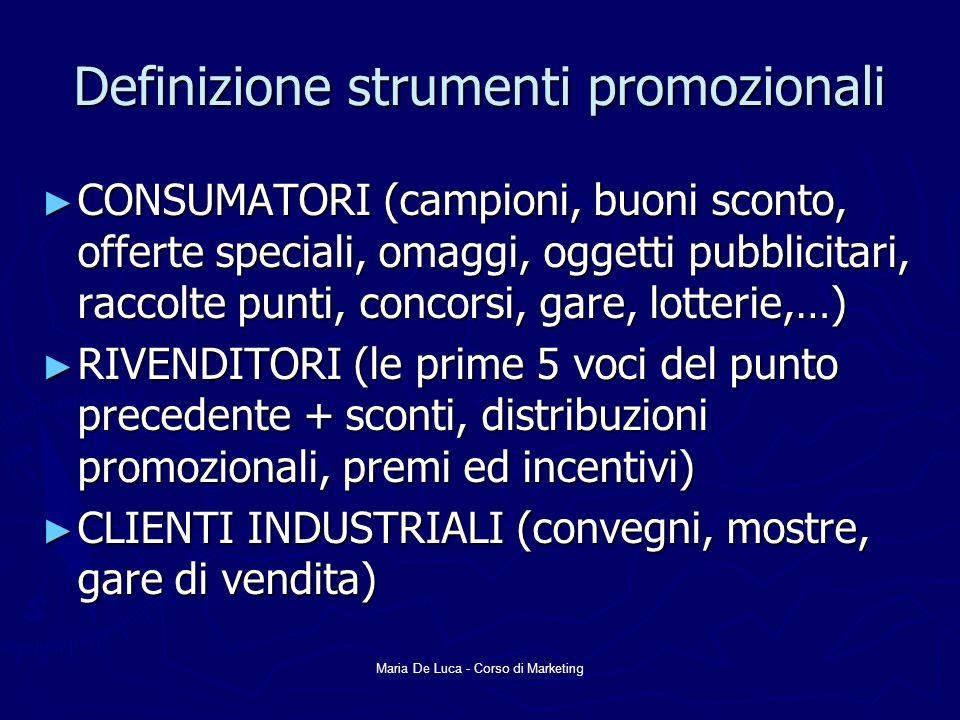 Maria De Luca - Corso di Marketing Definizione strumenti promozionali CONSUMATORI (campioni, buoni sconto, offerte speciali, omaggi, oggetti pubblicit