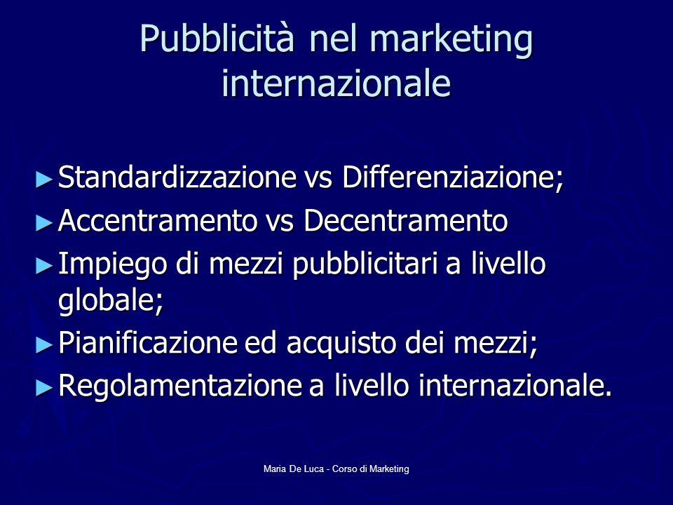 Maria De Luca - Corso di Marketing Pubblicità nel marketing internazionale Standardizzazione vs Differenziazione; Standardizzazione vs Differenziazion
