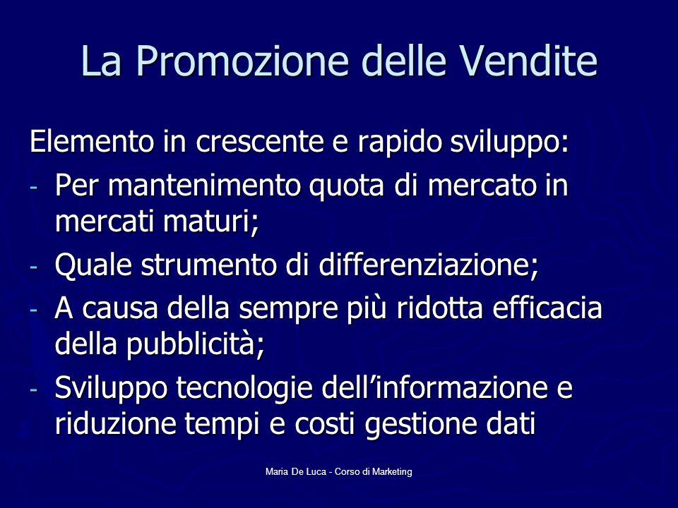 Maria De Luca - Corso di Marketing La Promozione delle Vendite Elemento in crescente e rapido sviluppo: - Per mantenimento quota di mercato in mercati