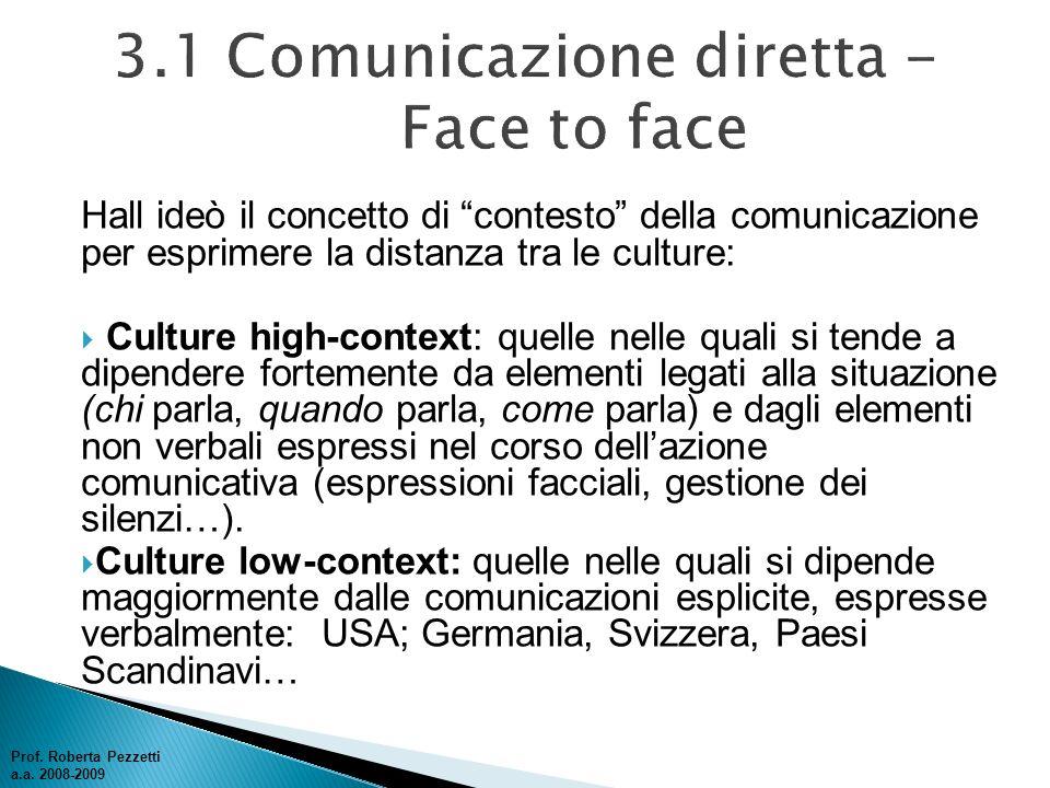 Hall ideò il concetto di contesto della comunicazione per esprimere la distanza tra le culture: Culture high-context: quelle nelle quali si tende a di