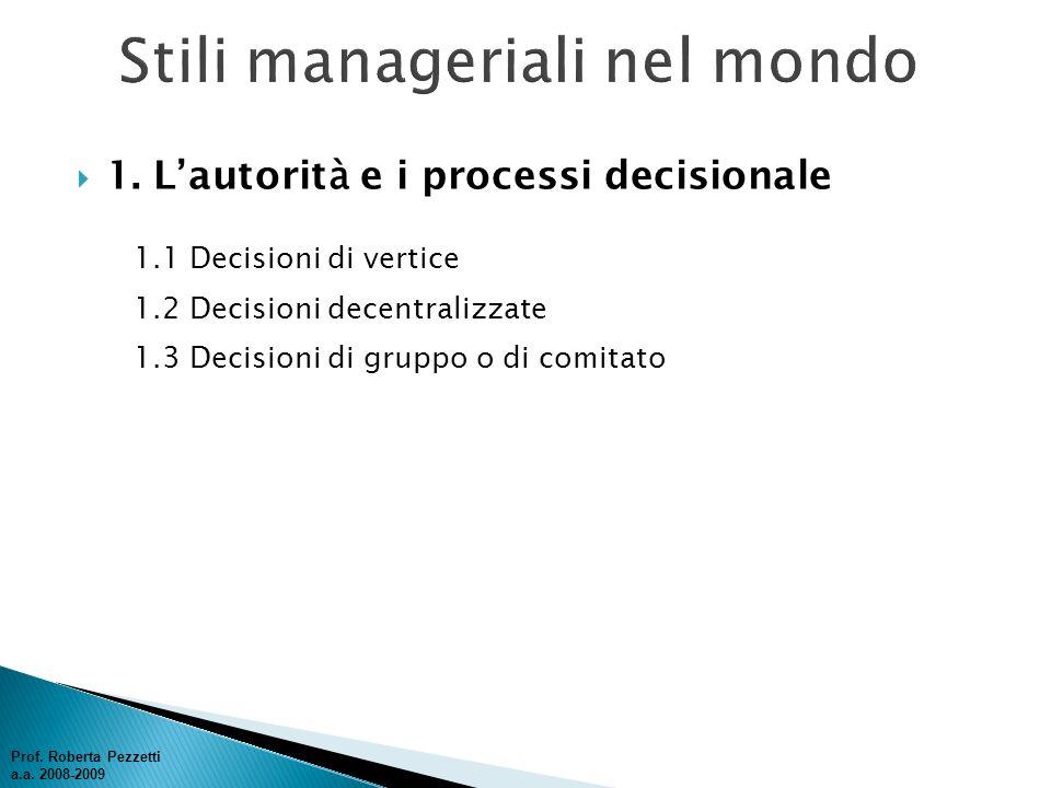 1. L autorit à e i processi decisionale 1.1 Decisioni di vertice 1.2 Decisioni decentralizzate 1.3 Decisioni di gruppo o di comitato Prof. Roberta Pez