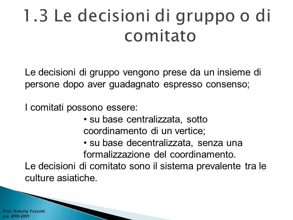Le decisioni di gruppo vengono prese da un insieme di persone dopo aver guadagnato espresso consenso; I comitati possono essere: su base centralizzata
