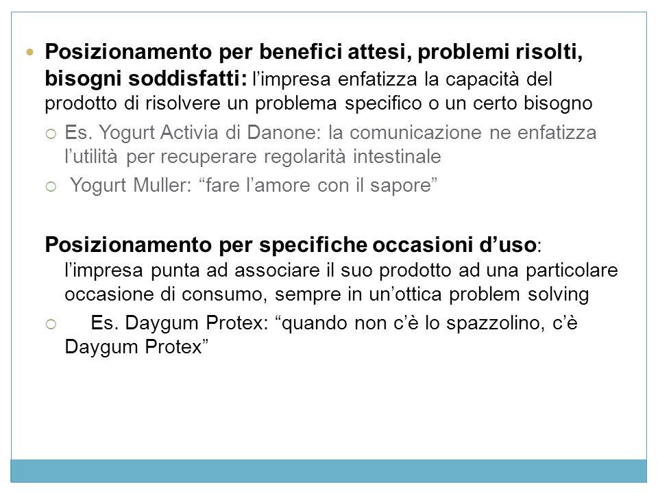 Posizionamento per benefici attesi, problemi risolti, bisogni soddisfatti: limpresa enfatizza la capacità del prodotto di risolvere un problema specifico o un certo bisogno Es.