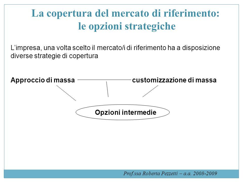 La copertura del mercato di riferimento: le opzioni strategiche Limpresa, una volta scelto il mercato/i di riferimento ha a disposizione diverse strategie di copertura Approccio di massacustomizzazione di massa Opzioni intermedie