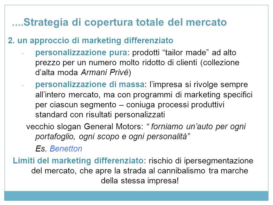 Strategia di copertura mista del mercato Limpresa diversifica le sue attività in termini di funzioni e/o gruppi di clienti.