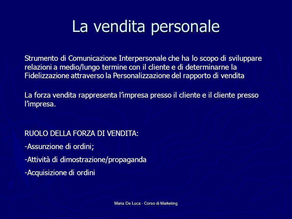 Maria De Luca - Corso di Marketing La vendita personale Strumento di Comunicazione Interpersonale che ha lo scopo di sviluppare relazioni a medio/lung