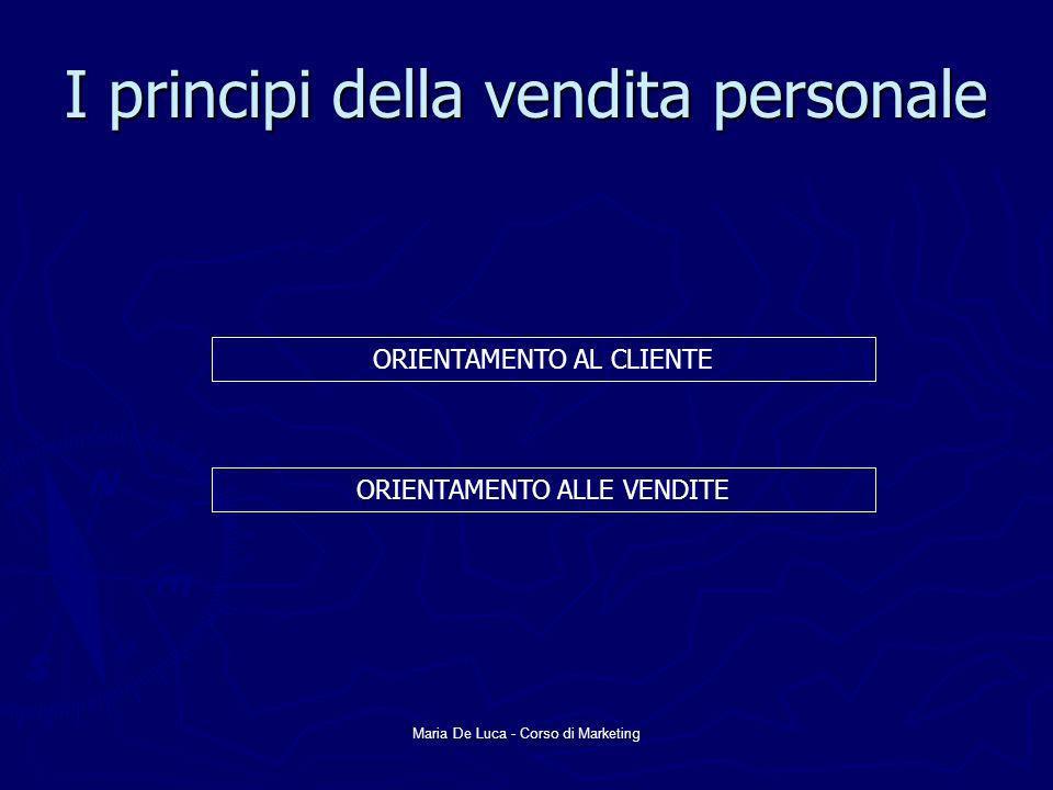 Maria De Luca - Corso di Marketing I principi della vendita personale ORIENTAMENTO AL CLIENTE ORIENTAMENTO ALLE VENDITE