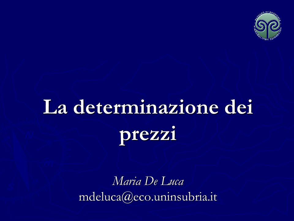 La determinazione dei prezzi Maria De Luca mdeluca@eco.uninsubria.it