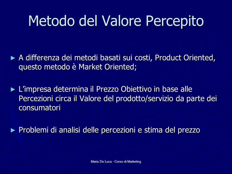 Maria De Luca - Corso di Marketing Metodo del Valore Percepito A differenza dei metodi basati sui costi, Product Oriented, questo metodo è Market Oriented; A differenza dei metodi basati sui costi, Product Oriented, questo metodo è Market Oriented; Limpresa determina il Prezzo Obiettivo in base alle Percezioni circa il Valore del prodotto/servizio da parte dei consumatori Limpresa determina il Prezzo Obiettivo in base alle Percezioni circa il Valore del prodotto/servizio da parte dei consumatori Problemi di analisi delle percezioni e stima del prezzo Problemi di analisi delle percezioni e stima del prezzo