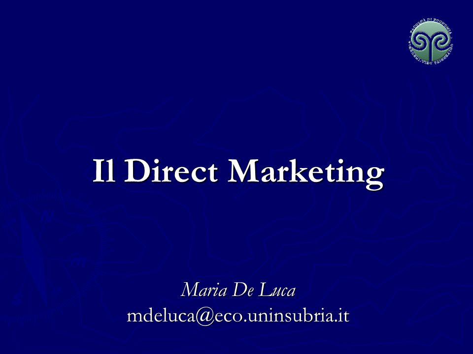 Maria De Luca - Corso di Marketing Il Direct Marketing Sistema di comunicazioni dirette rivolte a singoli clienti, accuratamente selezionati, realizzate, spesso in modo interattivo e finalizzate al conseguimento di una risposta immediata, diretta e misurabile da parte dellinterlocutore.