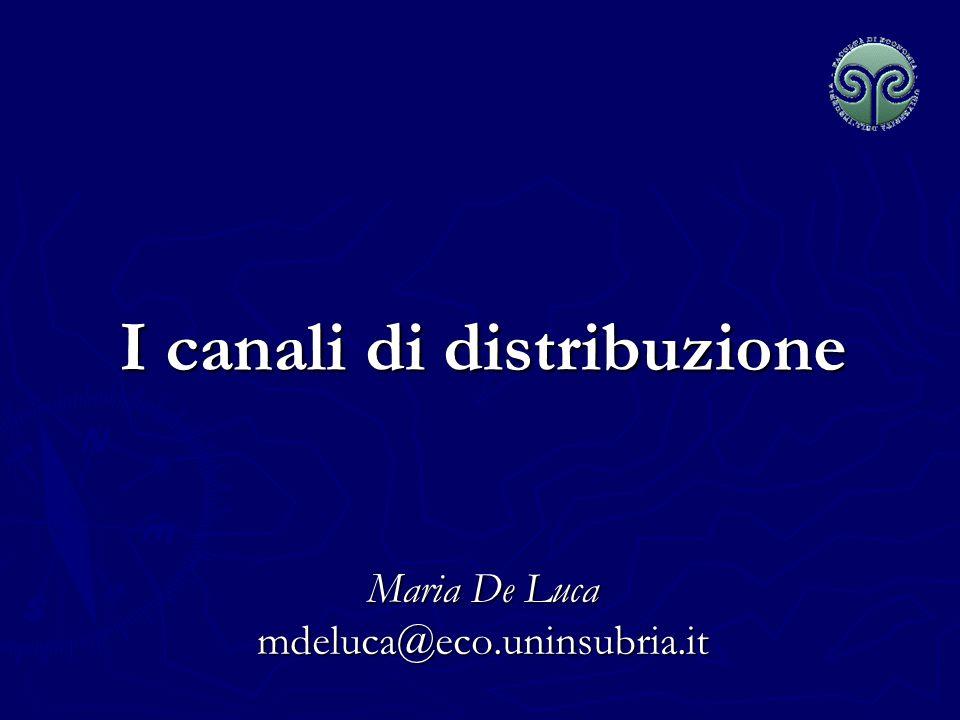 Maria De Luca - Corso di Marketing Le funzioni del canale distributivo Stabilire un legame tra la produzione e il consumo moltiplicando le possibilità di contatto della clientela.