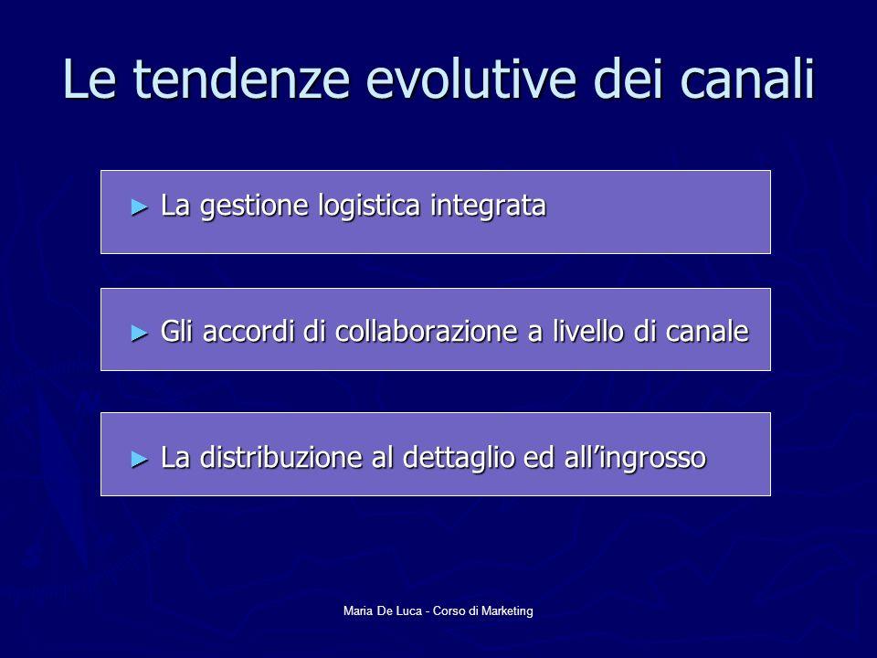 Maria De Luca - Corso di Marketing Le tendenze evolutive dei canali La gestione logistica integrata La gestione logistica integrata Gli accordi di col