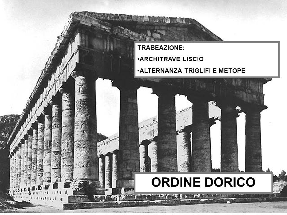 ORDINE DORICO TRABEAZIONE: ARCHITRAVE LISCIO ALTERNANZA TRIGLIFI E METOPE