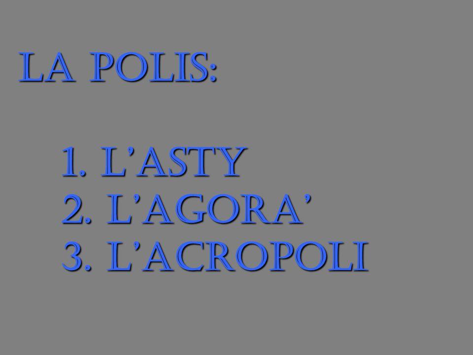 LA POLIS: 1. LASTY 2. LAGORA 3. LACROPOLI