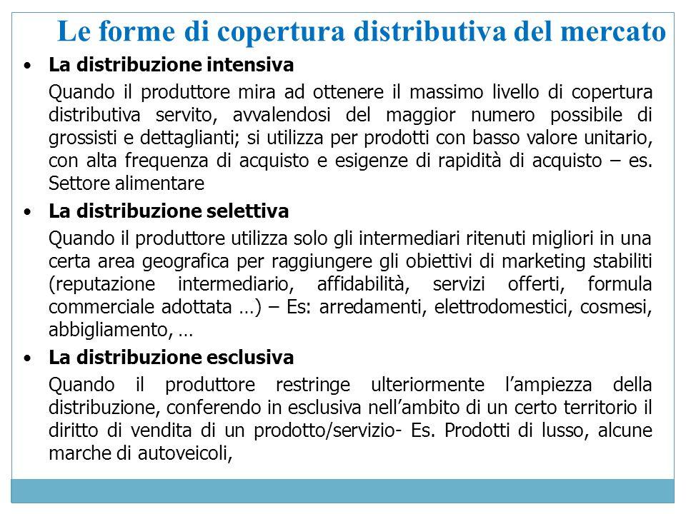 Le forme di copertura distributiva del mercato La distribuzione intensiva Quando il produttore mira ad ottenere il massimo livello di copertura distri
