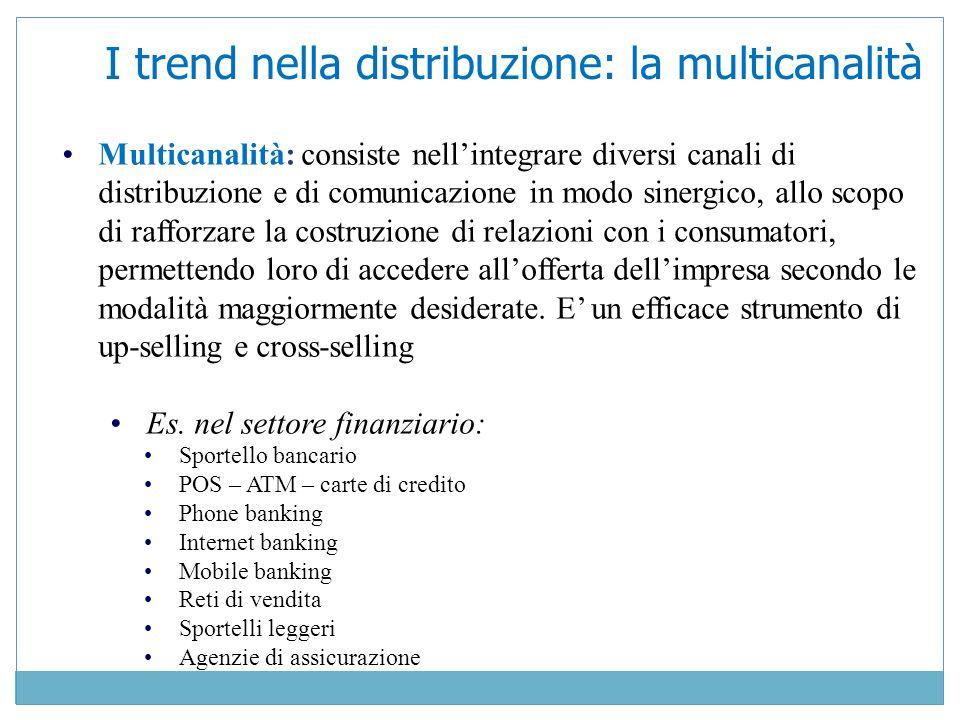 Multicanalità: consiste nellintegrare diversi canali di distribuzione e di comunicazione in modo sinergico, allo scopo di rafforzare la costruzione di