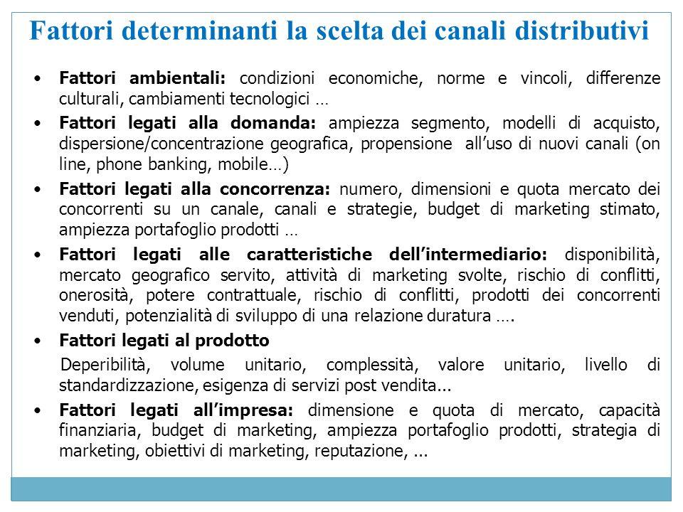 Fattori determinanti la scelta dei canali distributivi Fattori ambientali: condizioni economiche, norme e vincoli, differenze culturali, cambiamenti t