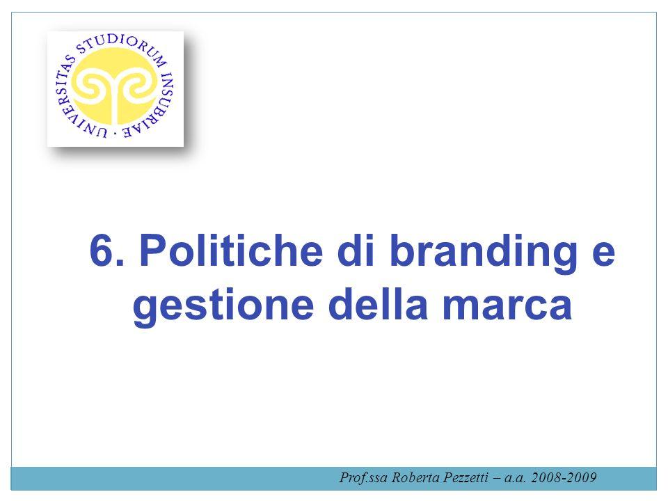 6. Politiche di branding e gestione della marca Prof.ssa Roberta Pezzetti – a.a. 2008-2009
