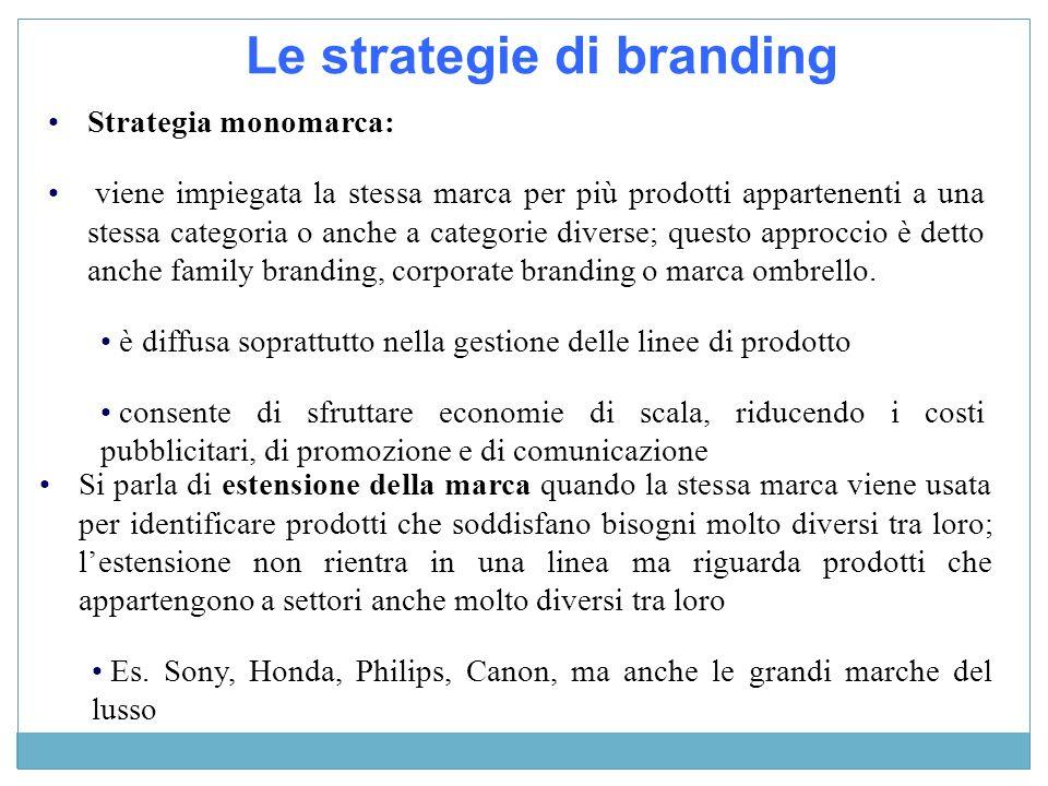 Strategia monomarca: viene impiegata la stessa marca per più prodotti appartenenti a una stessa categoria o anche a categorie diverse; questo approccio è detto anche family branding, corporate branding o marca ombrello.