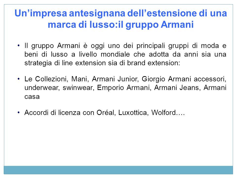 Unimpresa antesignana dellestensione di una marca di lusso:il gruppo Armani Il gruppo Armani è oggi uno dei principali gruppi di moda e beni di lusso