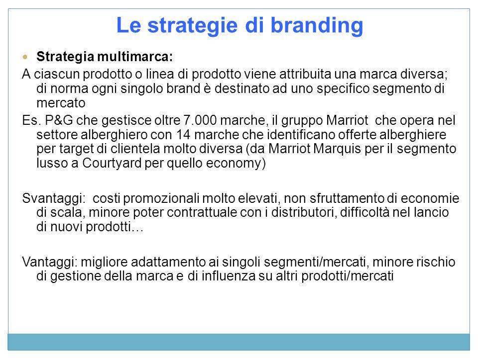 Strategia multimarca: A ciascun prodotto o linea di prodotto viene attribuita una marca diversa; di norma ogni singolo brand è destinato ad uno specif