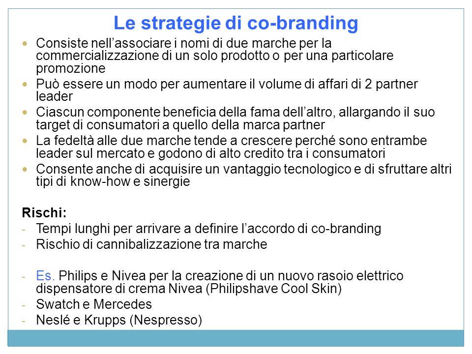 Le strategie di co-branding Consiste nellassociare i nomi di due marche per la commercializzazione di un solo prodotto o per una particolare promozion
