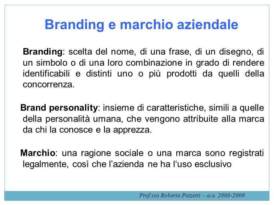 Branding e marchio aziendale Branding: scelta del nome, di una frase, di un disegno, di un simbolo o di una loro combinazione in grado di rendere iden