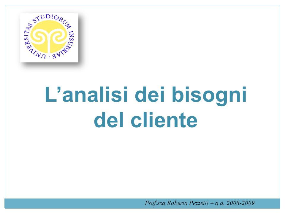 Lanalisi dei bisogni del cliente Prof.ssa Roberta Pezzetti – a.a. 2008-2009