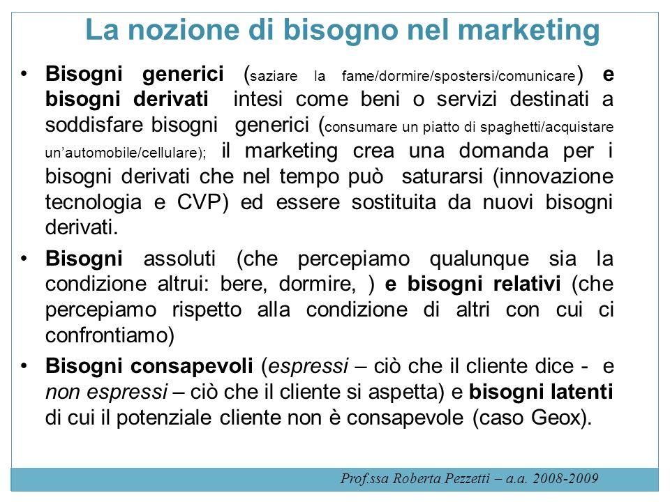 La nozione di bisogno nel marketing Bisogni generici ( saziare la fame/dormire/spostersi/comunicare ) e bisogni derivati intesi come beni o servizi de