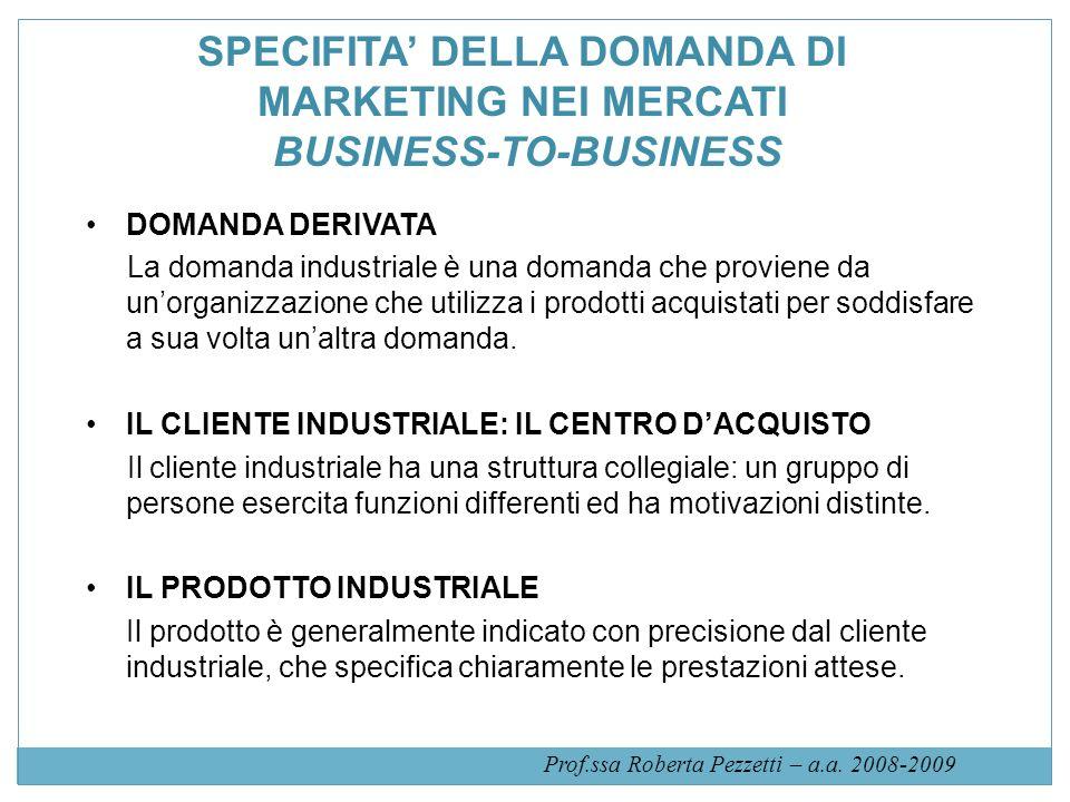 SPECIFITA DELLA DOMANDA DI MARKETING NEI MERCATI BUSINESS-TO-BUSINESS DOMANDA DERIVATA La domanda industriale è una domanda che proviene da unorganizz