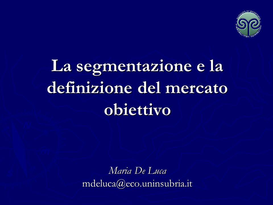 Maria De Luca - Corso di Marketing Segmentazione e definizione del mercato obiettivo Segmentazione del mercato 1.Identificazione delle basi di segmentazione del mercato 2.Definizione dei profili dei segmenti Definizione del mercato obiettivo 3.