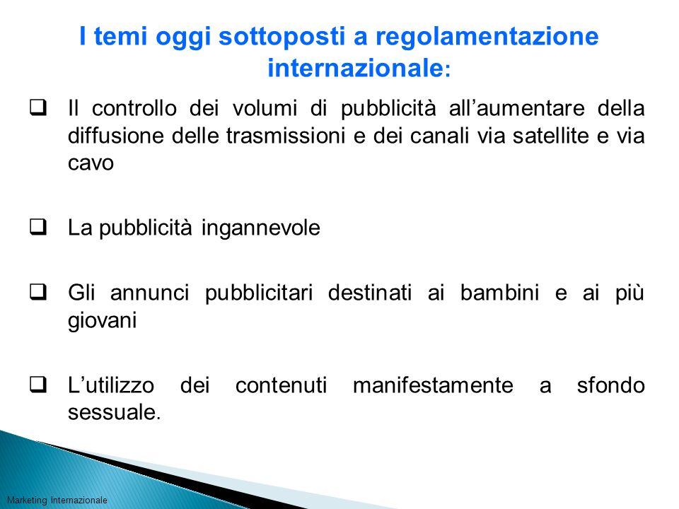 I temi oggi sottoposti a regolamentazione internazionale : Il controllo dei volumi di pubblicità allaumentare della diffusione delle trasmissioni e de