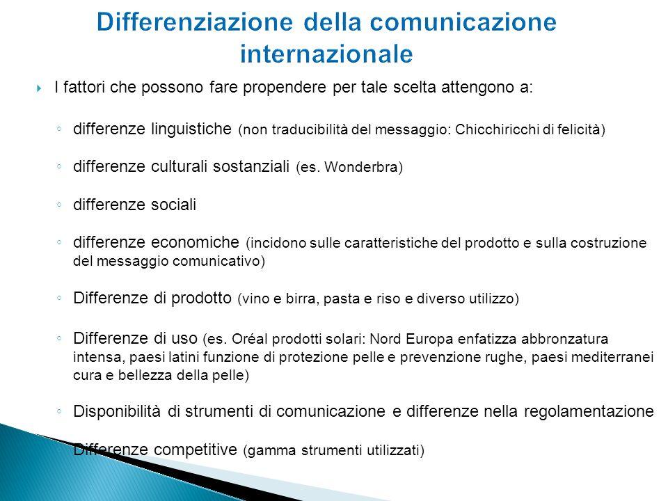 I fattori che possono fare propendere per tale scelta attengono a: differenze linguistiche (non traducibilità del messaggio: Chicchiricchi di felicità