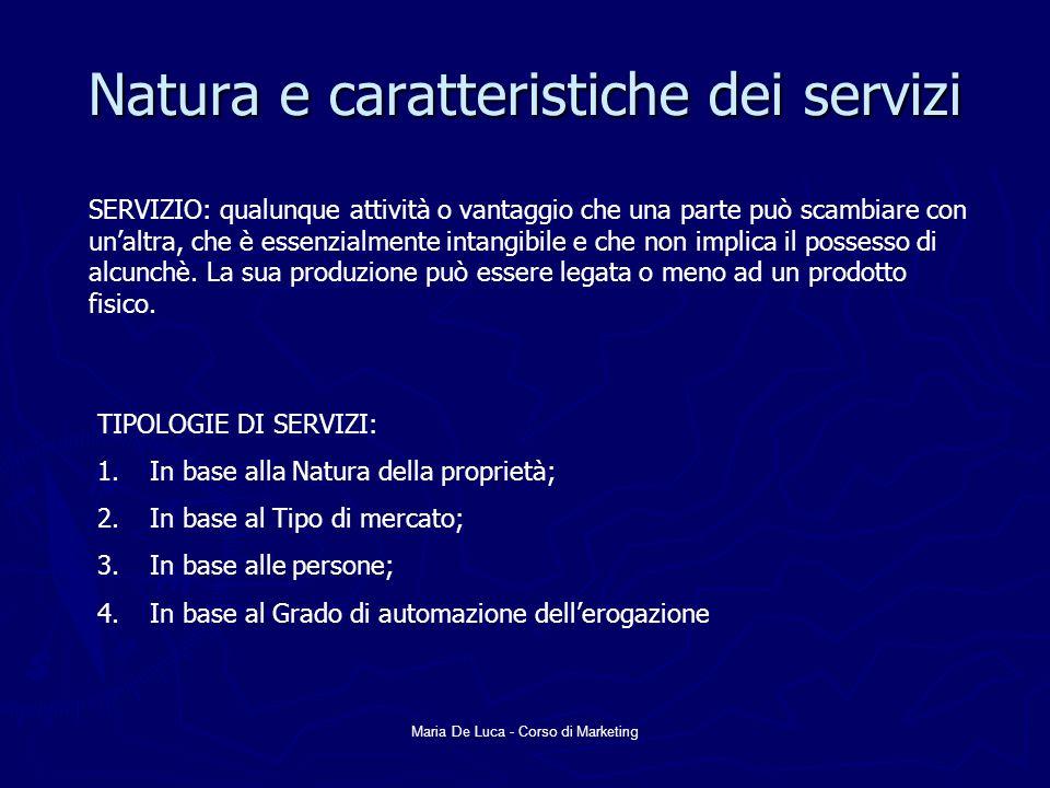 Maria De Luca - Corso di Marketing Natura e caratteristiche dei servizi SERVIZIO: qualunque attività o vantaggio che una parte può scambiare con unalt