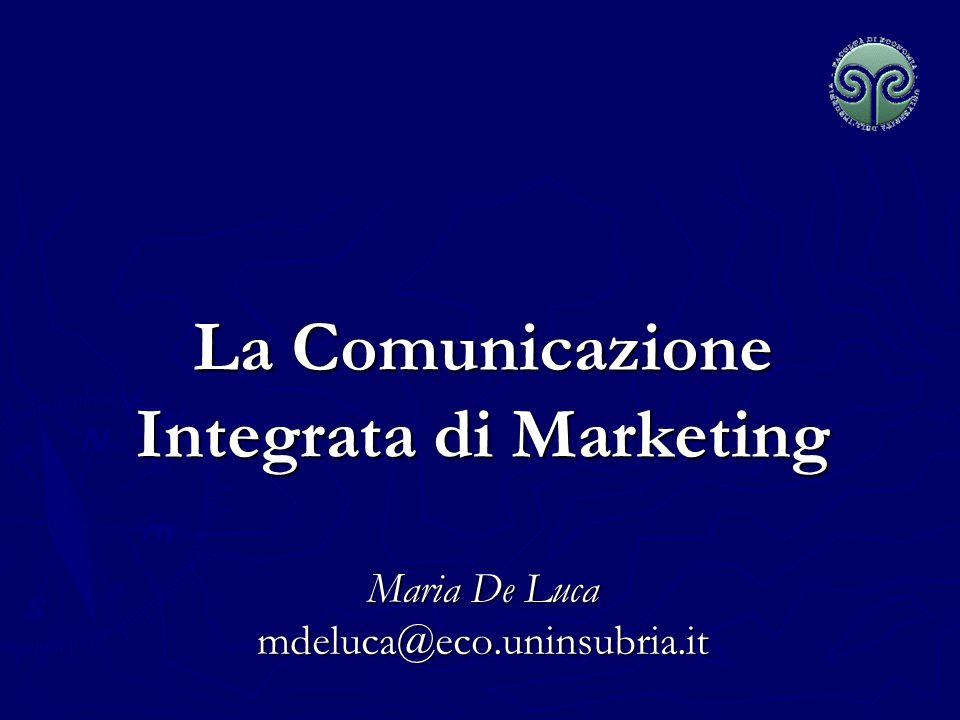 Maria De Luca - Corso di Marketing Il Sistema di comunicazione di Marketing ImpresaIntermediariConsumatoriPassaparolaPubblici Pubblicità Vendita personale Promozione vendite Pubbliche Relazioni Pubblicità Vendita personale Promozione vendite Pubbliche Relazioni