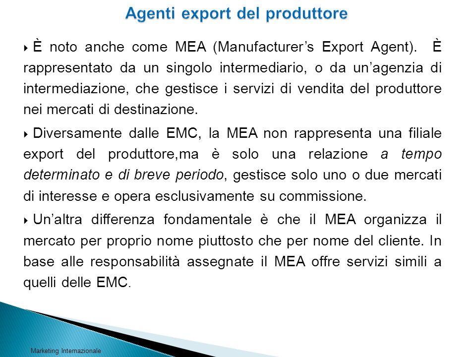 È noto anche come MEA (Manufacturers Export Agent). È rappresentato da un singolo intermediario, o da unagenzia di intermediazione, che gestisce i ser