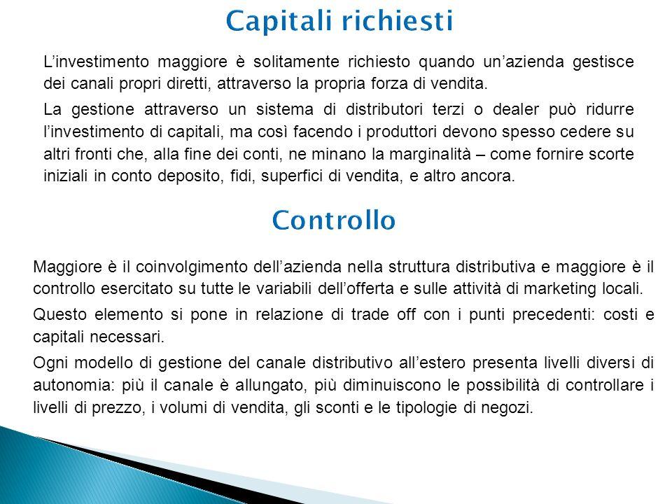 Linvestimento maggiore è solitamente richiesto quando unazienda gestisce dei canali propri diretti, attraverso la propria forza di vendita. La gestion