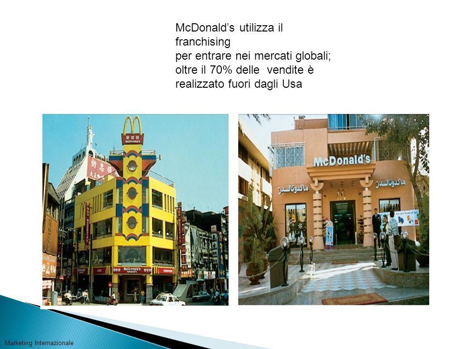 McDonalds utilizza il franchising per entrare nei mercati globali; oltre il 70% delle vendite è realizzato fuori dagli Usa