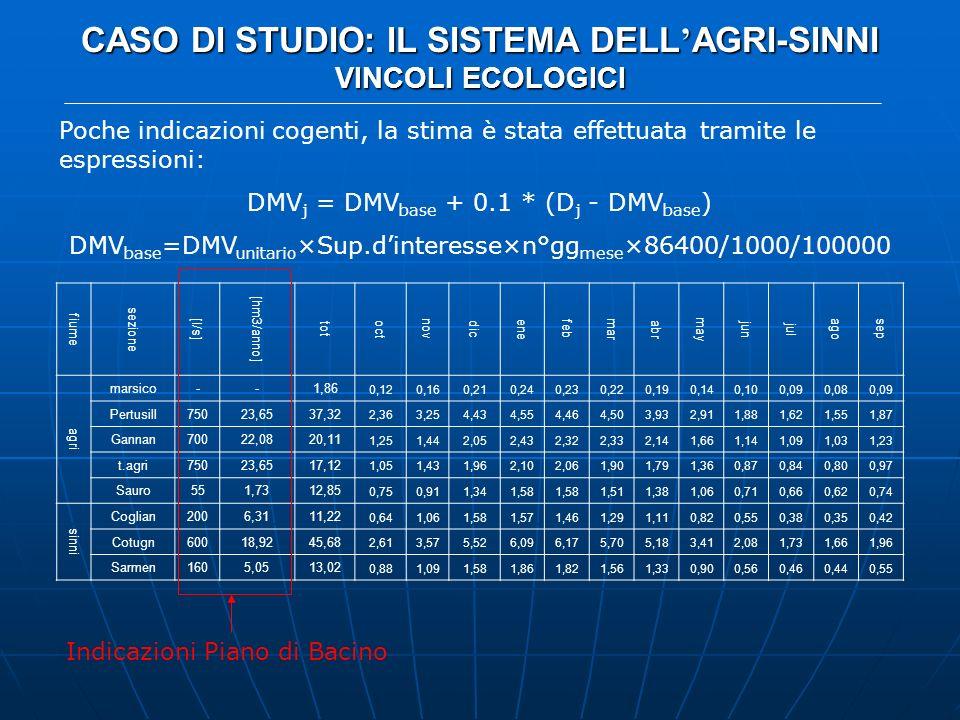 CASO DI STUDIO: IL SISTEMA DELL AGRI-SINNI VINCOLI ECOLOGICI Poche indicazioni cogenti, la stima è stata effettuata tramite le espressioni: DMV j = DM