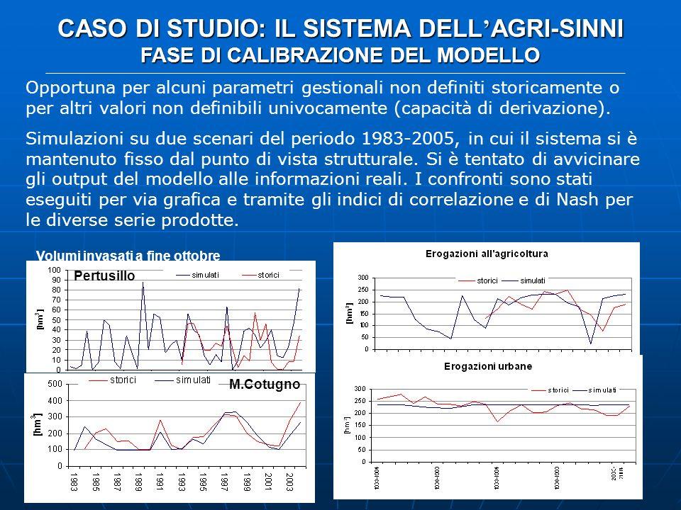 CASO DI STUDIO: IL SISTEMA DELL AGRI-SINNI FASE DI CALIBRAZIONE DEL MODELLO Opportuna per alcuni parametri gestionali non definiti storicamente o per