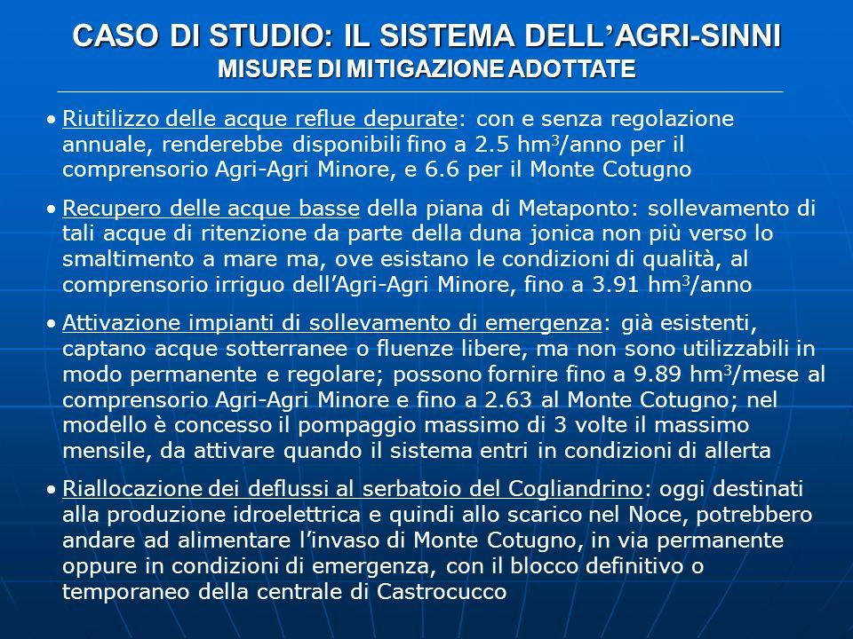 CASO DI STUDIO: IL SISTEMA DELL AGRI-SINNI MISURE DI MITIGAZIONE ADOTTATE Riutilizzo delle acque reflue depurate: con e senza regolazione annuale, ren
