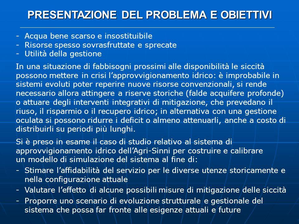 CASO DI STUDIO: IL SISTEMA DELL AGRI-SINNI CONCLUSIONI Si è dimostrata lapplicabilità del DSS Aquatool ad un sistema del sud Italia quale lAgri-Sinni, per cui è stato costruito e simulato un modello idrologico-gestionale.