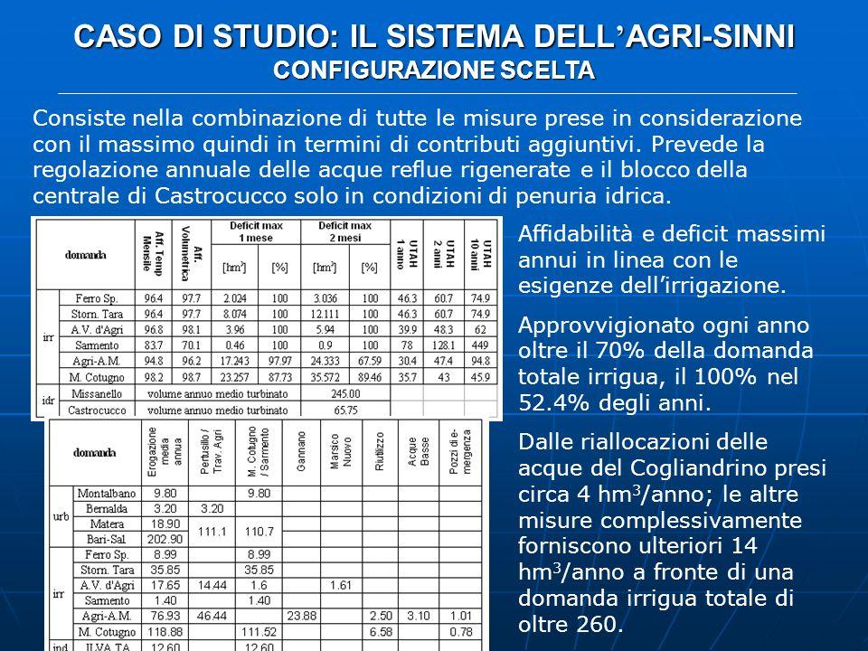 CASO DI STUDIO: IL SISTEMA DELL AGRI-SINNI CONFIGURAZIONE SCELTA Consiste nella combinazione di tutte le misure prese in considerazione con il massimo
