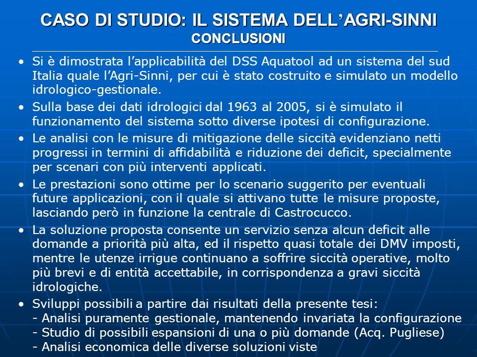 CASO DI STUDIO: IL SISTEMA DELL AGRI-SINNI CONCLUSIONI Si è dimostrata lapplicabilità del DSS Aquatool ad un sistema del sud Italia quale lAgri-Sinni,