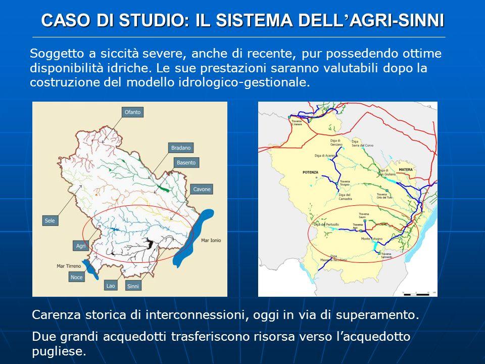 CASO DI STUDIO: IL SISTEMA DELL AGRI-SINNI MISURE DI MITIGAZIONE ADOTTATE Riutilizzo delle acque reflue depurate: con e senza regolazione annuale, renderebbe disponibili fino a 2.5 hm 3 /anno per il comprensorio Agri-Agri Minore, e 6.6 per il Monte Cotugno Recupero delle acque basse della piana di Metaponto: sollevamento di tali acque di ritenzione da parte della duna jonica non più verso lo smaltimento a mare ma, ove esistano le condizioni di qualità, al comprensorio irriguo dellAgri-Agri Minore, fino a 3.91 hm 3 /anno Attivazione impianti di sollevamento di emergenza: già esistenti, captano acque sotterranee o fluenze libere, ma non sono utilizzabili in modo permanente e regolare; possono fornire fino a 9.89 hm 3 /mese al comprensorio Agri-Agri Minore e fino a 2.63 al Monte Cotugno; nel modello è concesso il pompaggio massimo di 3 volte il massimo mensile, da attivare quando il sistema entri in condizioni di allerta Riallocazione dei deflussi al serbatoio del Cogliandrino: oggi destinati alla produzione idroelettrica e quindi allo scarico nel Noce, potrebbero andare ad alimentare linvaso di Monte Cotugno, in via permanente oppure in condizioni di emergenza, con il blocco definitivo o temporaneo della centrale di Castrocucco