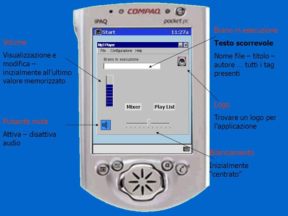 Brano in esecuzione MixerPlay List Menu File Apri (apertura file) Chiudi (applicazione) Elenco ultimi 5 file (memorizzare) Menu Configurazione (da definire) Menu Help .