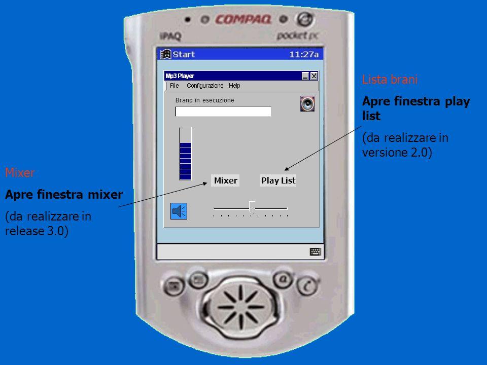 Brano in esecuzione MixerPlay List Brano in esecuzione Testo scorrevole Nome file – titolo – autore … tutti i tag presenti Logo Trovare un logo per la